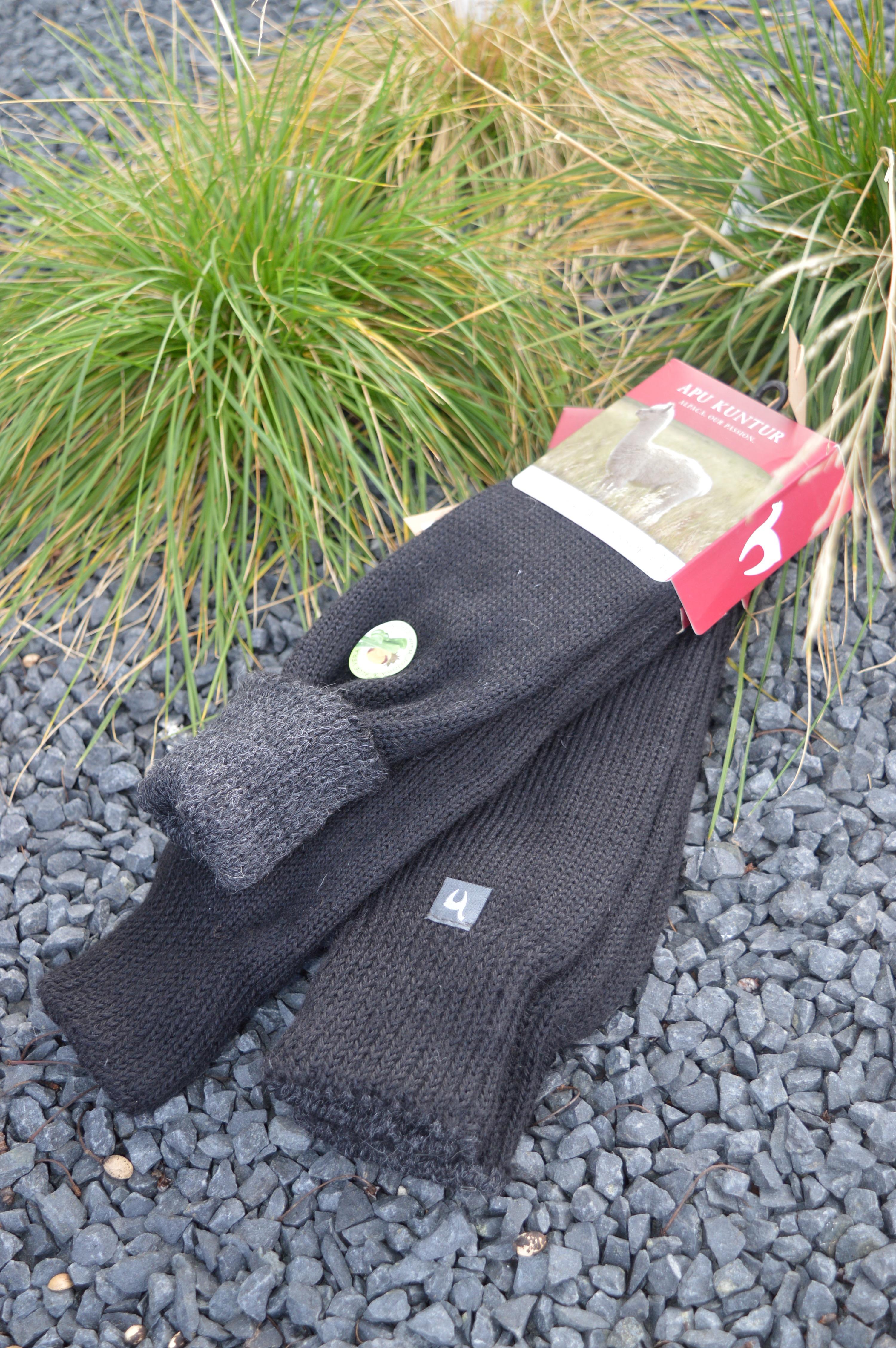 Alpaka Wende Socken, doppelt gestrickt, Größe 45 48 schwarzanthrazit