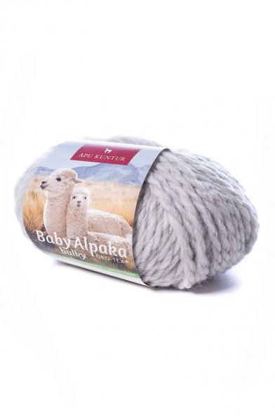 Herren Pullover 100% Babyalpaka Wolle Hellgrau